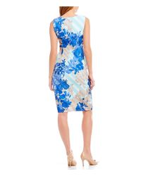 Calvin Klein - Blue Sleeveless Stripe Floral Print Sheath Dress - Lyst