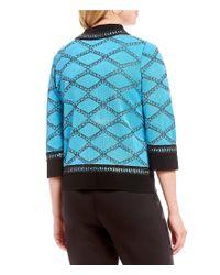 Ming Wang - Blue Jewel Neck Texture Stripe Jacket - Lyst