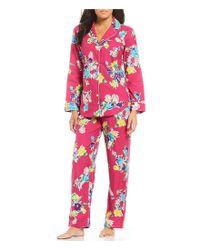 Lauren by Ralph Lauren - Pink Petite Floral-printed Brushed Twill Pajamas - Lyst