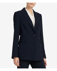 Donna Karan - Blue New York Stretch Crepe One-button Long Jacket - Lyst