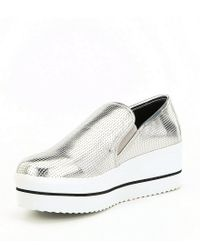 Steve Madden - Becca Metallic Perforated Platform Slip-on Wedge Sneakers - Lyst