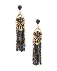 Belle By Badgley Mischka - Metallic Tassels Statement Earrings - Lyst