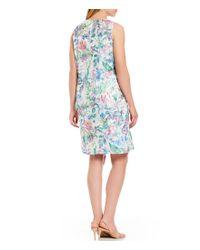 Tahari - White Plus Size Sleeveless Soutache Embroidered Shift Dress - Lyst