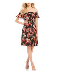 Astr - Black Cassidy Ruffle Off The Shoulder Floral Print Dress - Lyst
