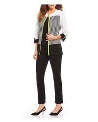 Ming Wang - Black Stripe Jewel Neck Jacket - Lyst