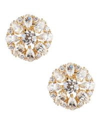 Nadri - Gray Cubic Zirconia Cluster Clip-on Stud Earrings - Lyst