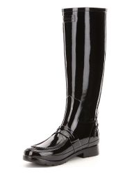 Hunter - Black Boots Tall Glossed Rubber Pull On Water Proof Penny Loafer Rain Boots - Lyst