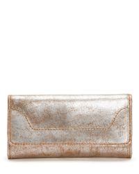 Frye - Metallic Melissa Continental Snap Leather Wallet - Lyst