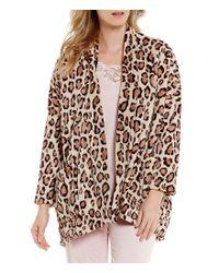 Natori Brown Animal-print Fleece Lounge Jacket