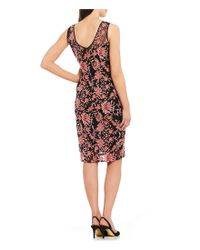 Adrianna Papell - Multicolor Embroidered Sheath Dress - Lyst