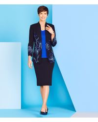 Ming Wang - Black Floral Embroidered Mandarin Collar Jacket - Lyst