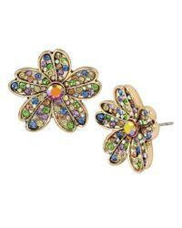 Betsey Johnson - Metallic Multi-colored Stone Flower Stud Earrings - Lyst