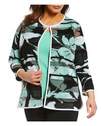 Ming Wang - Black Plus Size Jewel Neckline Floral Long Jacket - Lyst