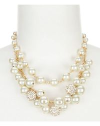 Anne Klein Metallic Shaky Faux-pearl & Fireball Multi-strand Frontal Necklace