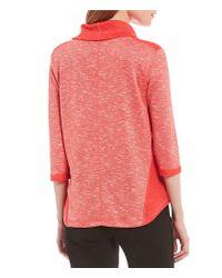 Ruby Rd - Pink Petites 3/4 Sleeve Marled Slub Knit Pullover - Lyst