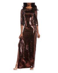 Aidan By Aidan Mattox - Multicolor Metallic Sequin Side Slit Sheath Gown - Lyst