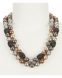Anne Klein - Metallic Faux-pearl Double-row Collar Necklace - Lyst