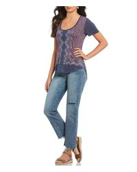 Lucky Brand - Blue Allover Print Graphic Tee - Lyst