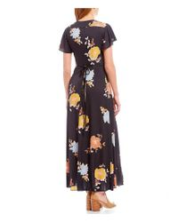 French Connection - Black Shikoku Slinky Jersey Floral Print Wrap Style Maxi Dress - Lyst