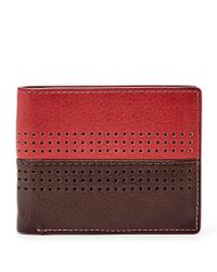 Fossil - Red Rfid Cody Leather Bifold Flip Id Wallet for Men - Lyst