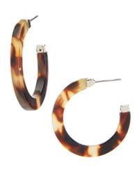 Lauren by Ralph Lauren - Brown Tortoise Medium Hoop Earrings - Lyst