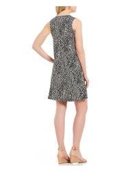 Kasper - Black Knit Zigzag Print Swing Dress - Lyst