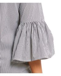 CALVIN KLEIN 205W39NYC - Black Even Stripe Ruffle Bell Sleeve Novelty Shirting Top - Lyst