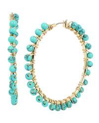 Kenneth Cole | Blue Turquoise Beaded Hoop Earrings | Lyst