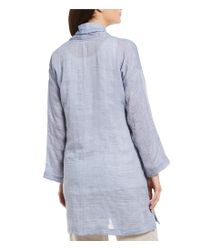 Eileen Fisher - Blue Long Sleeve Open Front Kimono Coat - Lyst