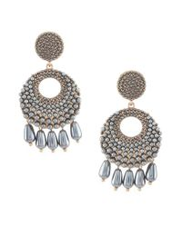 Belle By Badgley Mischka - Gray Pave Pearl Drop Statement Earrings - Lyst