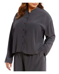 Eileen Fisher | Brown Plus Mandarin Collar Short Boxy Shirt | Lyst