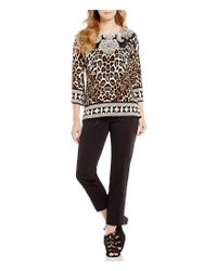 Ruby Rd - Black Petites Jewel-neck Embellished Front Leopard Lace Placement Print Knit Top - Lyst