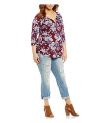 Lucky Brand - Multicolor Jeans Plus Floral Pintuck Top - Lyst