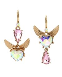 Betsey Johnson - Metallic Heart And Wing Mismatched Drop Earrings - Lyst