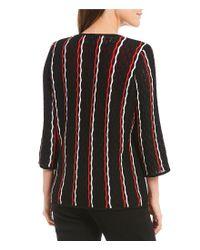 Misook - Black Jewel Neck Crochet Lines Jacket - Lyst