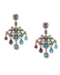 Betsey Johnson | Blue Multi-color Chandelier Statement Earrings | Lyst