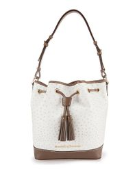 Dooney & Bourke - Gray Ostrich-embossed Tasseled Drawstring Bag - Lyst
