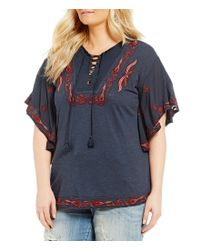 Lucky Brand - Blue Plus Embroidered Peasant Top - Lyst