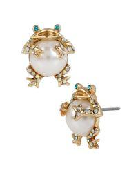 Betsey Johnson - Metallic Faux-pearl & Crystal Frog Stud Earrings - Lyst
