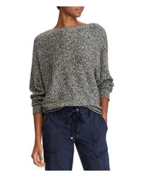 Lauren by Ralph Lauren - Black Petite Cotton-blend Dolman Sweater - Lyst