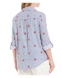 Ruby Rd - Blue Plus Size Allover Embroidered Stripe Print Button Up Tie Front Top - Lyst