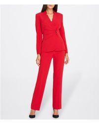 531166b9bec Tahari Side-draped Crepe Pantsuit in Red - Lyst
