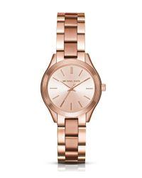 Michael Kors - Pink Mini Slim Runway Analog Bracelet Watch - Lyst