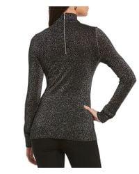 MICHAEL Michael Kors Black Choker V-neck Fine Gauge Metallic Knit Sweater