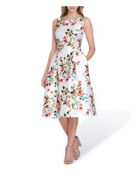 Tahari - White Floral Print Mikado Fit And Flare Dress - Lyst
