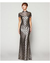 Carmen Marc Valvo Infusion Metallic Lace Mock Neck Gown