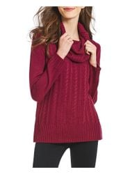 Ivanka Trump - Red Knitted Cowl Neck Sweater - Lyst