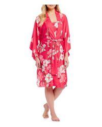 4dea00f5f2 Lyst - Natori Magnolia Satin Long Wrap Robe in Pink