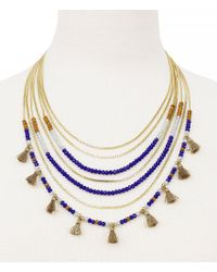 Jessica Simpson - Metallic Home Grown Tasseled Beaded Multi-row Necklace - Lyst