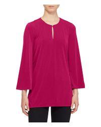 Lauren by Ralph Lauren | Red Bell-sleeve Jersey Tunic | Lyst